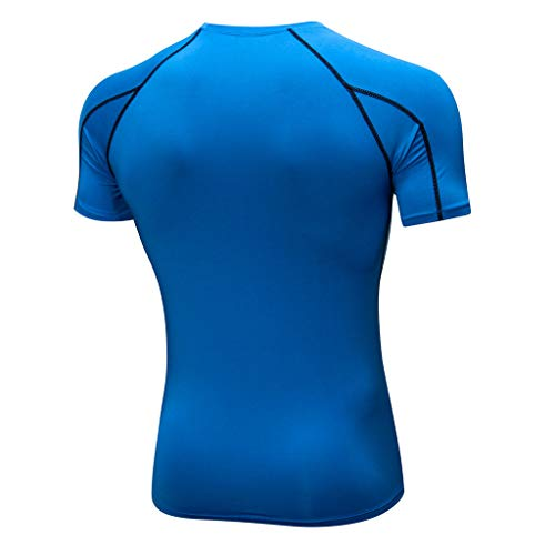 Amlaiworld Tops shirt T Fitness Tenue Sports De Sport Rapide Workout Bleu Séchage Blouse Sportswear Homme rwrH0px