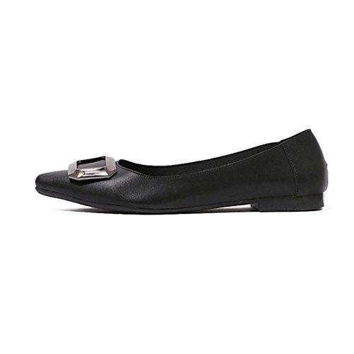 Giy Mode Féminine Bout Pointu Mocassin Plat Slip-on Confort Boucle Robe Ballet Marche Chaussures Mocassins Noir