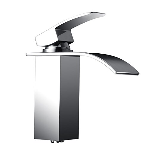 (Single Hole+ Waterfall Bathroom Sink Basin Mixer Tap Faucet Brass Chrome Plated)