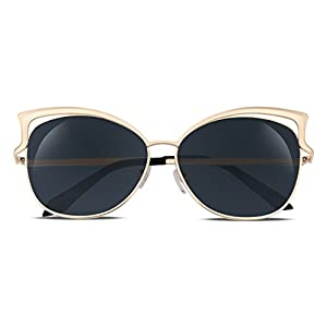 FEISEDY Sexy Cateye Women Sunglasses Metal Frame Flat Mirrored Lens B1980