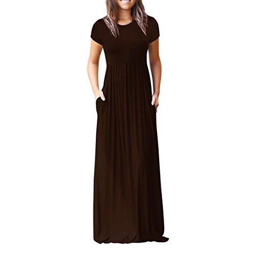 tasche o da Vestito Vestito del delle delle partito Caffè maniche Donna delle collo allentato donne abbigliamento donna casuali collo corte Elegante Vestito Beikoard lungo dal UxBqq0