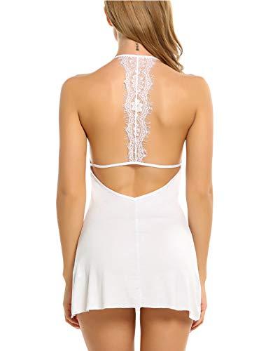 Avidlove Sleepwear Womens Chemise Sexy Nightie Full Slip Lace Babydoll Dress White Large
