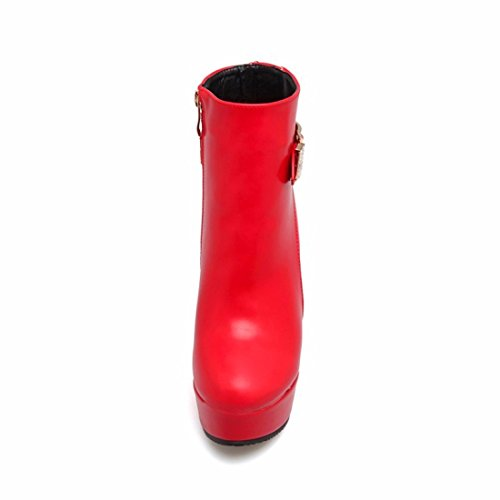 thin short high big code boots waterproof zipper Autumn heels gules heel side woman winter platform qtn7wx4F