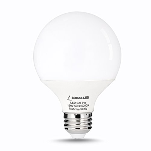 LOHAS 9 Watt LED Globe Bulb, G25 LED Bulbs, 60Watt Vanity Light Bulbs Equivalent, LED Light Bulb ...