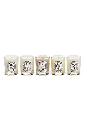 Diptyque Scented Miniature Candle Set - Baies, Figuier, Feu de Bois, Roses, Tubéreuse 1.2 oz by Diptyque