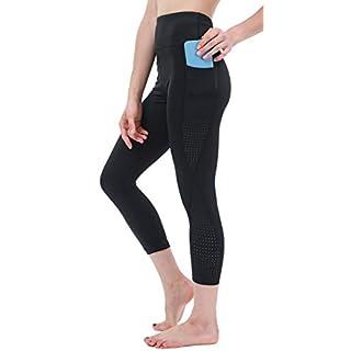 Sweatish Workout Running Capri Leggings for Women with Pockets High Waist Yoga Training Fitness Capri Tights (Capri Black, Large)