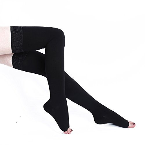 Catecool Compression Stockings Thigh High Open Toe 15-21 ...