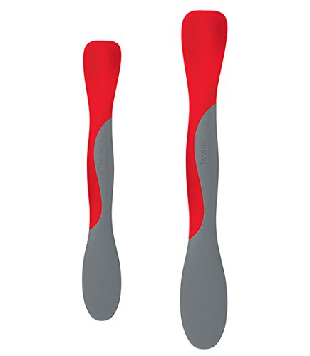 Silicone Scoop and Spread (Red) - Mini and Large, Set of 2 (Flexible Spatula Tovolo)