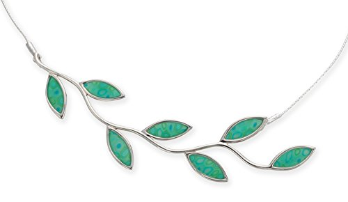 925 Sterling Silver Olive Leaf Necklace Branch Pendant Vibrant Green Polymer Clay Jewelry, 16.5