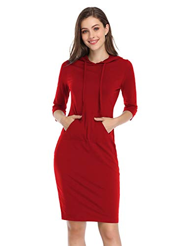 MISSKY Women's Casual Sport Hooded Pocket Knee Lenth Dress