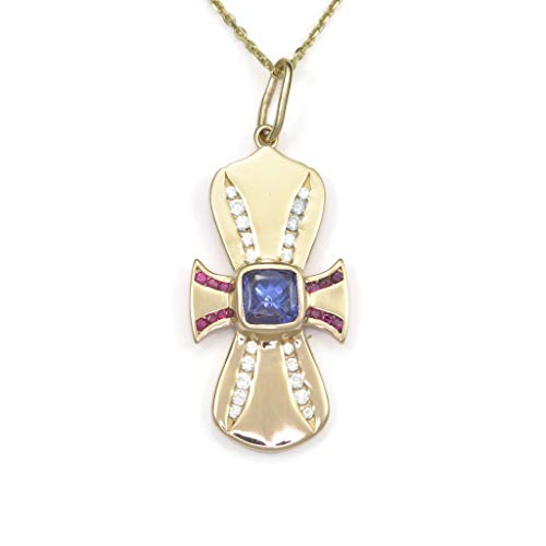 14Kt Cross Necklace, 14K Diamond Cross Pendant, Gold Tanzanite Cross, 14Kt Ruby Cross by Donna Pizarro ()