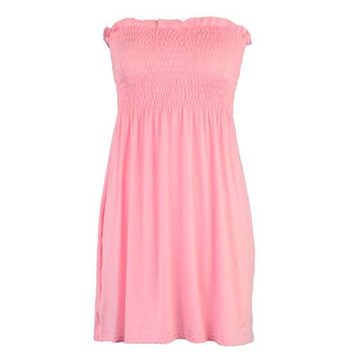 - REXINTE Women's Off Shoulder Mini Dress Shirred Tummy Control Dresses Solid Cocktail Prom Ballgown Fancy Dress(Pink, L)