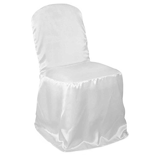 Lanns Linens 100 Elegant Wedding/Party Banquet Chair Covers - Satin Fabric - White