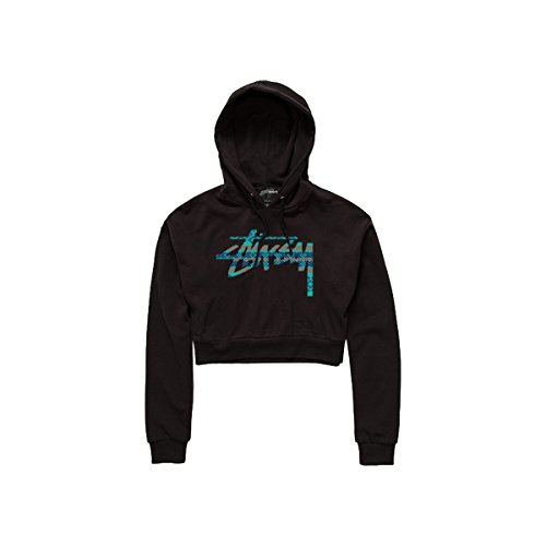 Stussy Womens Stock Knit Cropped Hoody Pullover Sweatshirt, Black, Small