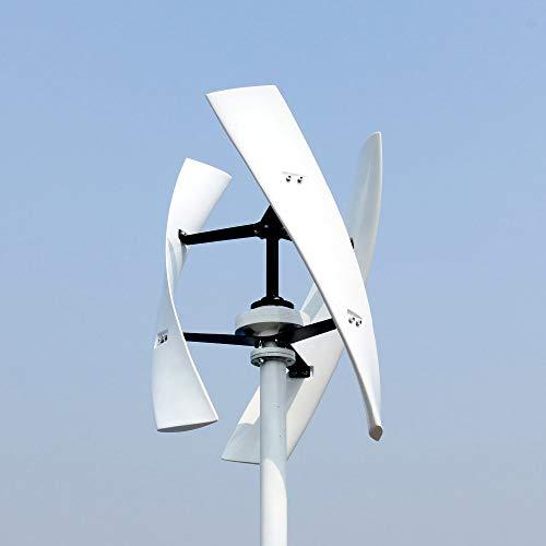 HIUHIU 300W 12V 24V Spiral Wind Turbine Generator Red/White VAWT