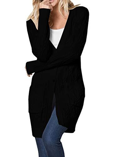 Dellytop Womens Button Down Cardigans V Neck Long Sleeve Chunky Knit Sweater Coat Pockets (Z Black, (Boyfriend V-neck Cashmere Sweater)