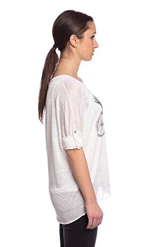 Abbino 7133-12b Camisetas Tops para Mujer - Hecho en ITALIA - 6 Colores - Primavera Verano Camisetas Otoño Vintage Manga Larga Elegante Fiesta Fitness Venta Flexible Joven Dulce - Talla única Blanco