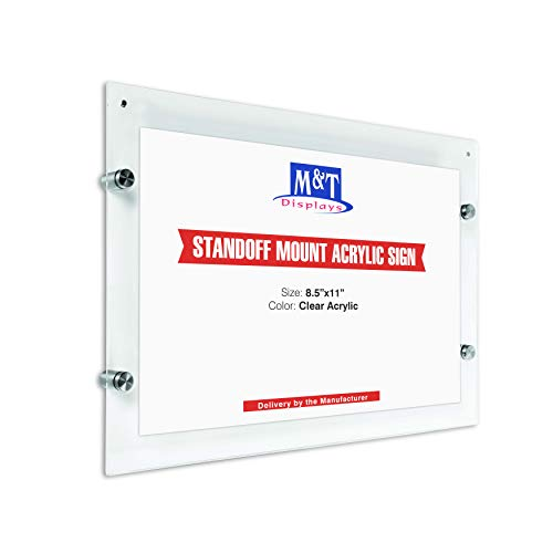Wall Mount Clear Acrylic Sign Holder, 11x17 Landscape Poster Size, Magnet and Standoff Hardware Included