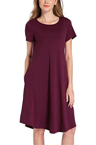 PCEAIIH Women's Short Sleeve Casual Loose T-Shirt Dress(Large, Wine Red)