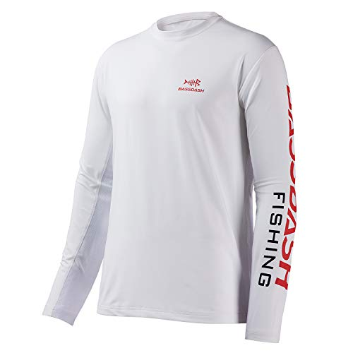 Bassdash Fishing T Shirts for Men UV Sun Protection UPF 50+ Long Sleeve Tee T-Shirt (White/Red Logo, 4X-Large)