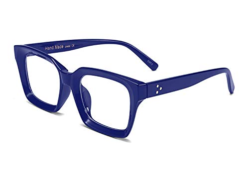 FEISEDY Classic Oprah Square Large Eyewear Non-prescription Thick Glasses Frame for Women B2461 (Blue, ()