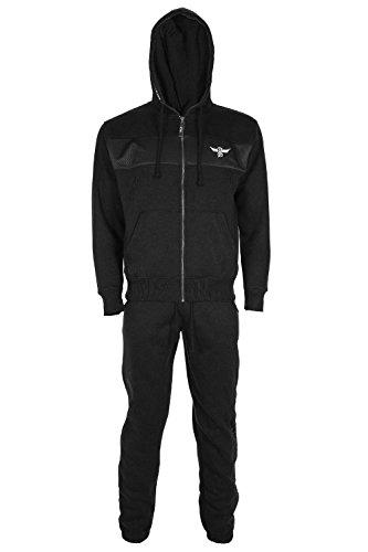 Dlx Wine - Mens DLX Project Front Zip Up Hooded Tracksuit Fleece Top Jogging Bottom Large Black