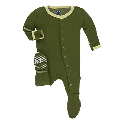 Kickee Pants Little Boys Solid Footie with Snaps - Pesto, Newborn