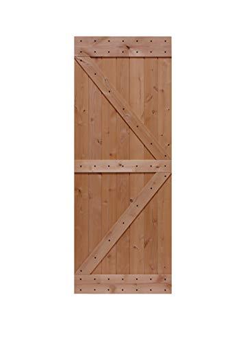 LUBANN 32 in. x 84 in. Rustic British-Brace Hardwood Barn Door Unfinished Knotty Alder Solid Wood Barn Door Slab