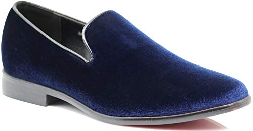 SPK03 Men's Vintage Plain Velvet Dress Loafers Slip On Shoes Classic Tuxedo Dress Shoes (8 D(M) US, Navy)