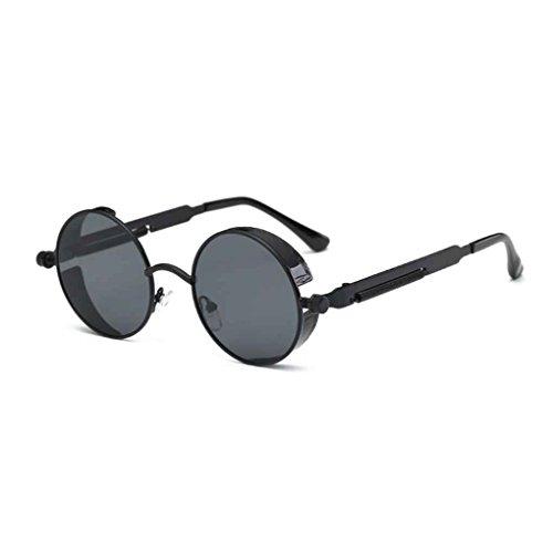 Sol de Mujer Redondo del Steampunk Negro Las Negro de Metal UV400 Eyewear de Aiming Hombre Marco Gafas Lentes qUPHPXw