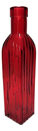 Red Square Vase - Backwoods Lighting LLC Red Decrotive Glass Square Bottle Vase with Ribbed Glass and Cork Top