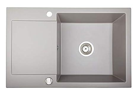 Fregadero de cocina rectangular blanco granito, 78 x 50 cm BRENOR Alkor CC