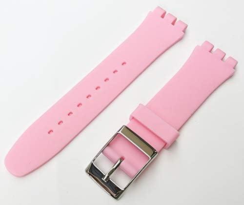 Mind Watch(マインドウォッチ) 腕時計 交換用 ベルト 取付幅 【19mm 】 シリコンベルト スクエアバックル (ピンク)