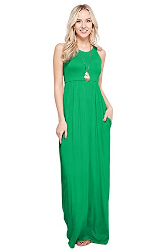 Maxi Dresses for Women Solid Lightweight Long Racerback Sleeveless W/Pocket -Kelly Green (1X) -