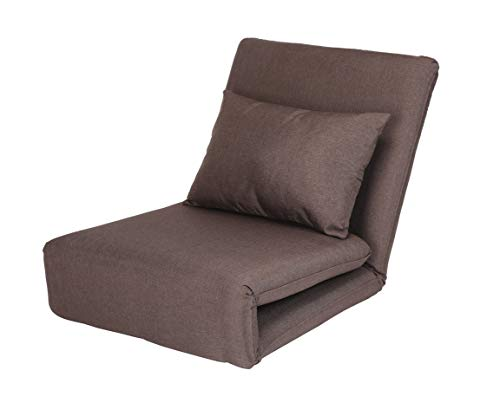 - Loungie Relaxie Brown Linen Flipchair - 5-Position Adjustable Back | Sleeper | Dorm Bed | Lounger Seat or Sofa