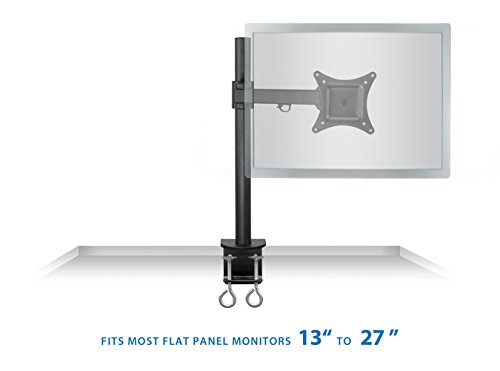 Mount-It! Monitor Arm Single LCD Monitor Desk Mount Stand Fully Adjustable Fits 20 21 23 24 27 30 32 Screens Height Adjustable Tilt Swivel Rotate, Clamp Base (MI-751)