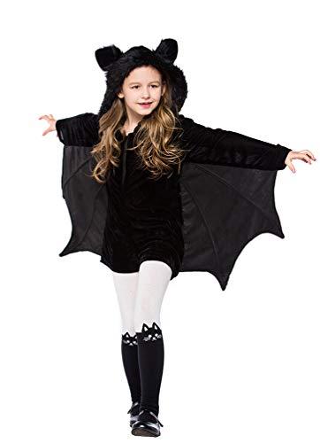YESBOR Girls Cozy Vampire Bat Halloween Costume Dress Up M -