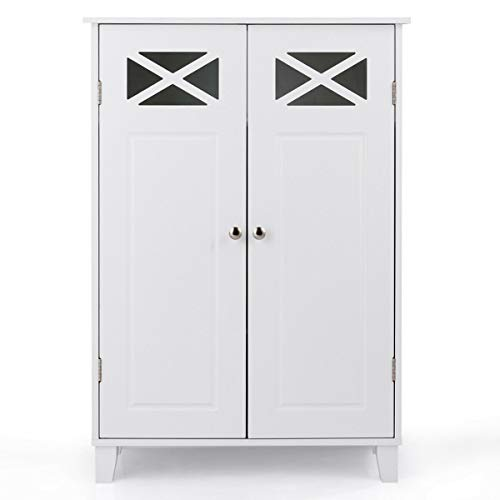 Tangkula Bathroom Floor Cabinet, Double Doors Wooden Free Standing Bathroom Cabinet, Adjustable Shelf Floor Storage Organizer (White) by Tangkula (Image #8)