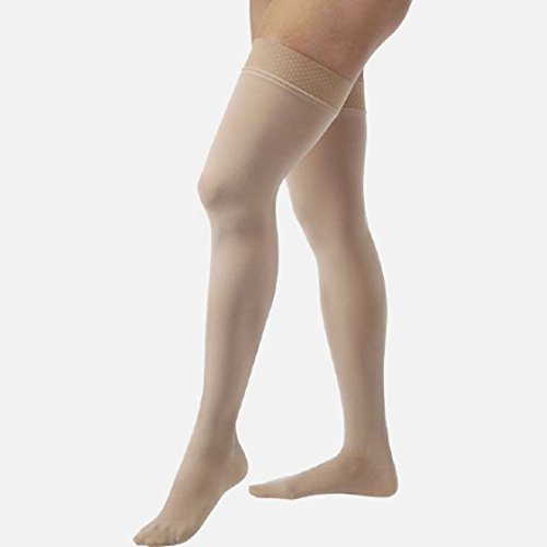 Closed Toe Stockings - JOBST Relief 15-20 mmHg Compression Stockings, Thigh High with Silicone Band, Closed Toe, Beige, Large