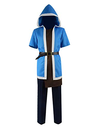 Clash Of Clans Halloween Pumpkin (Mens Clash Clans Wizard Costume Short Sleeve Hooded Robe Outfits Game Cosplay Costume (M,)