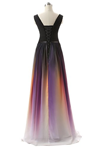 engerla ärmelloses Ombre Büste Rüschen Party Purple Black Stock Länge Ausschnitt Mesh Damen Belt mit Kleid V Abend HqBnWw4Hr