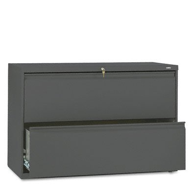 (Hon 800 Series Two-Drawer Lateral File, 42w x 19-1/4d x 28-3/8h, Charcoal 892LS)