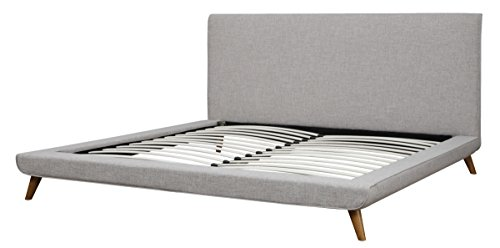 TOV Furniture The Nixon Collection Mid-Century Linen Upholstered Wooden Platform Bed , King Size, Beige
