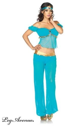 [Leg Avenue Women's 3 Piece Arabian Princess Costume, Turquoise, Large] (Halloween Jasmine Costume)