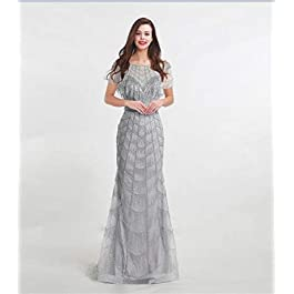 Evening Dresses Luxury Grey With Fully Beaded Tassel Scoop Neck Floor Length Formal Woman Party Gowns Evening dress