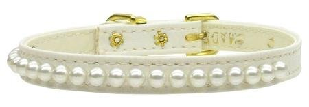 Mirage Pet Products 3/8-Inch Pearl Pet Collar, Size 14, White