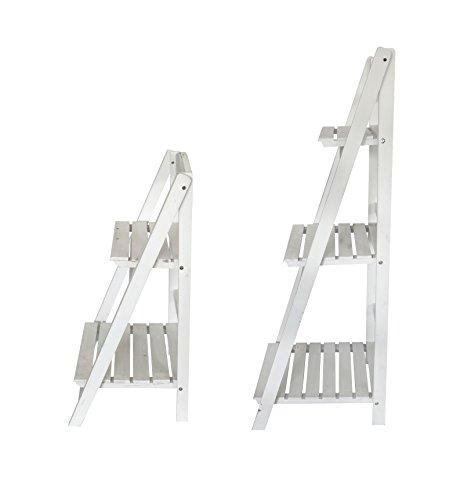 Holz Blumen-Treppe 2er Set klein und groß weiß