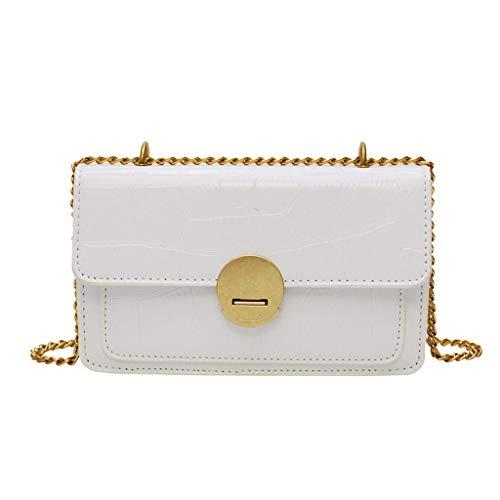 White Chronograph Flight Dial (♛Shiretel Bag Women's Fashion Messenger Bag Shoulder bag wild small square bag stone zipper bag)