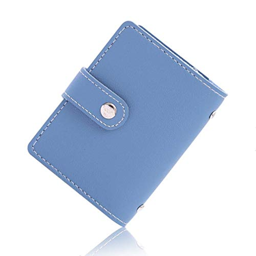 (Aismile Slim Minimalist Soft PU Leather Wallet RFID Blocking Credit Card Holder 26 ID Card Slots Organizer Case, Blue)