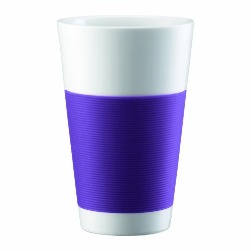 Bodum Canteen Porcelain Double Wall Cooler with Silicone Grip, Purple, Set of (Porcelain Double Wall Cooler)